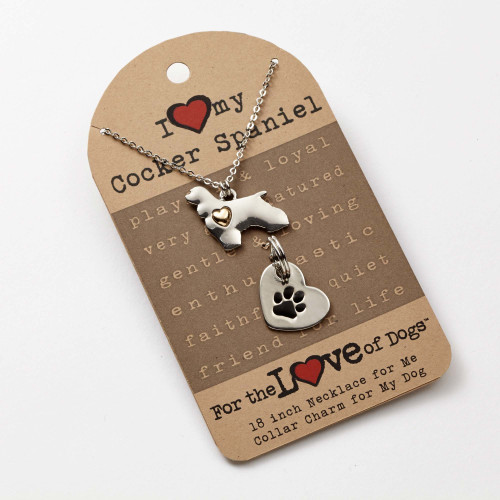 Love of Paws Cocker Spaniel Pendant Necklace and Charm Set - 4051092