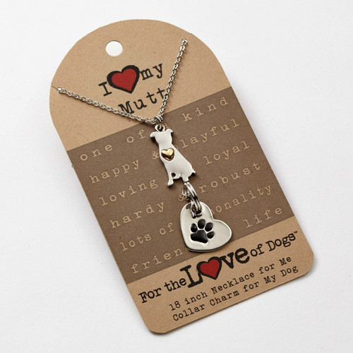 Love of Paws Mutt Pendant Necklace and Charm Set
