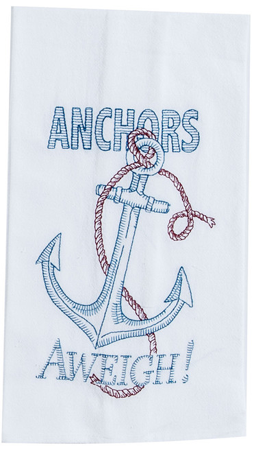 Anchors Aweigh Embroidered Flour Sack Towel