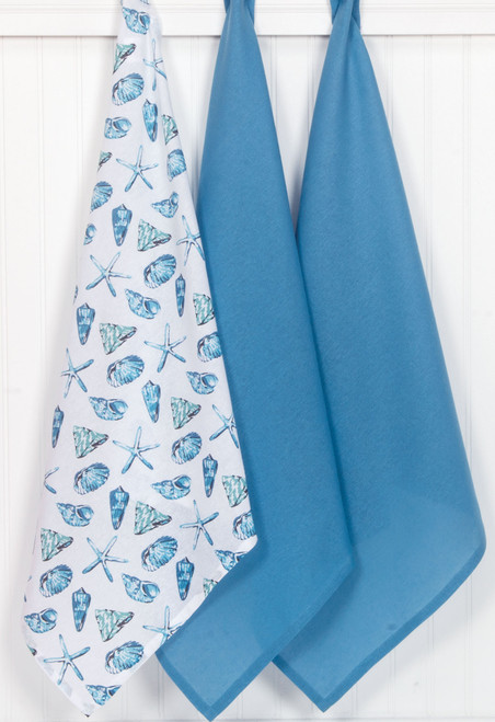 Beach House Inspirations Shells 3PC Flour Sack Towel Set A8337