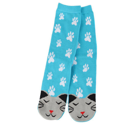 GRAY Kitty Cat Fun Aqua Womens Tube Socks - 40029GRAY