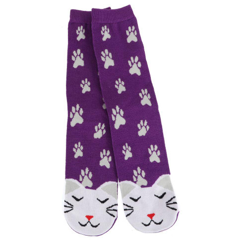 WHITE Kitty Cat Fun Purple Womens Tube Socks - 40029WHITE