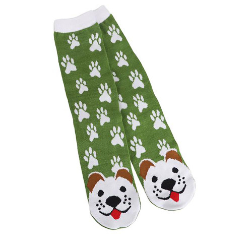 White Puppy Dog Fun Green Womens Tube Socks - 40030WHITE