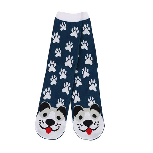 Gray Puppy Dog Fun Navy Womens Tube Socks - 40030GRAY