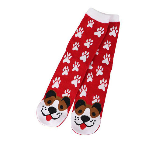 Brown Puppy Dog Fun Red Womens Tube Socks - 40030BROWN