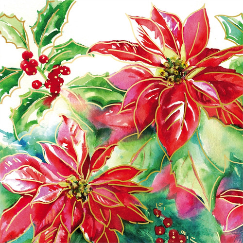 Metallic Poinsettia Paper Napkins - 20 count - 4NC6600