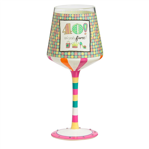 40th Birthday Hand Painted Wine Glass - 12 oz - 3HWG140