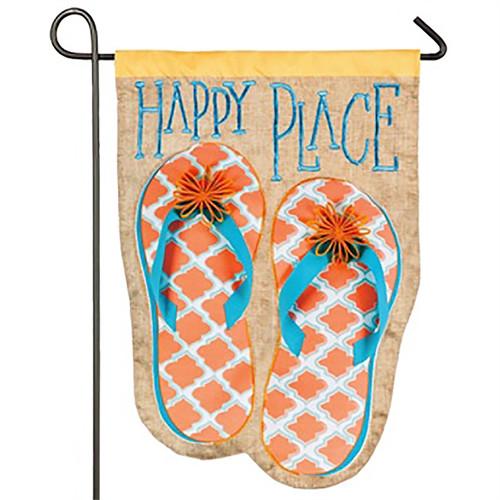 Happy Place Flip Flops - Suede Garden Flag 14S3413BL