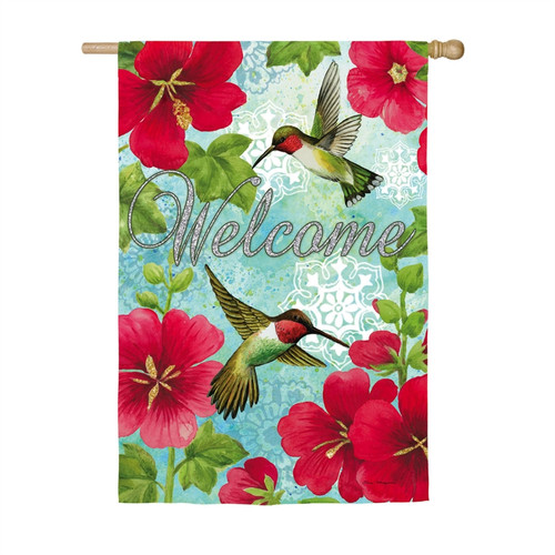 Hummingbird & Hollyhock - Suede House Flag