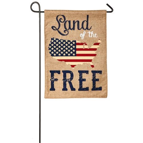 Land of the Free - Burlap Garden Flag - 18 x 12 - ZKL14B3737