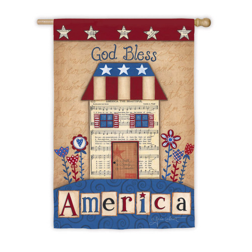 God Bless America House - Suede House Flag - 43 x 29 - 13S2476