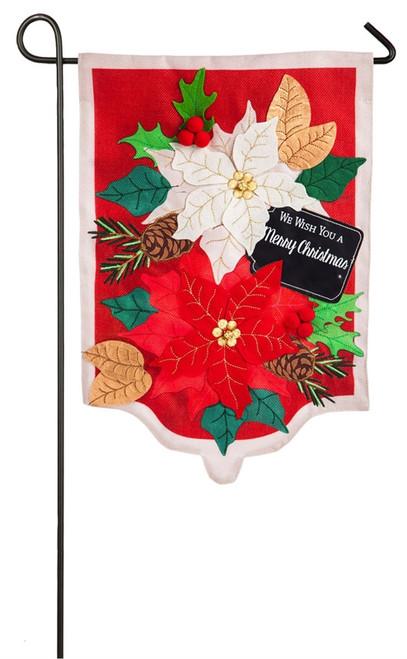 Holiday Poinsettias  - Burlap Garden Flag - 18 x 12 - 14B4568BL