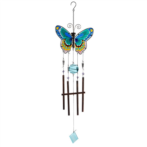 Blue Butterfly Garden Wind Chime ZAH2WC1689C