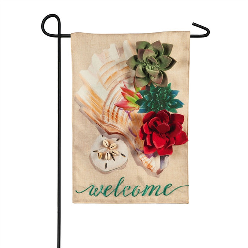 Conch Shell with Succulents - Burlap Garden Flag - 18 x 12 - 14B9184