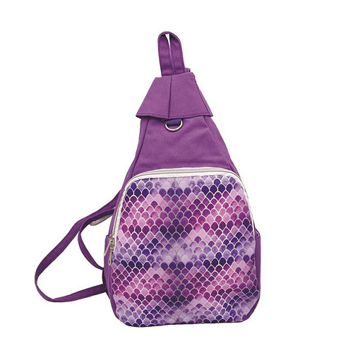 Small Purple Mermaid Canvas Daypack Backpack