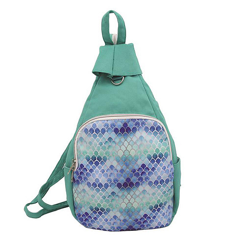 Small Green Mermaid Canvas Daypack Backpack