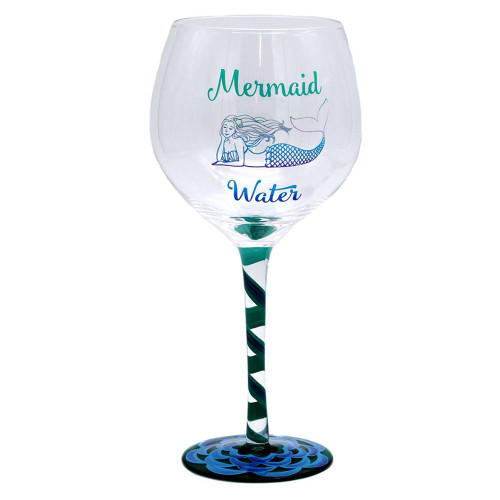 Mermaid Water Hand Painted 18oz Wine Glass - 11209A