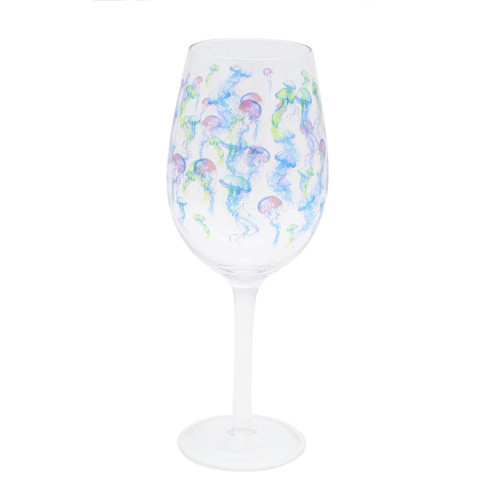 Jellyfish Colorful 16oz Wine Glass - 11294