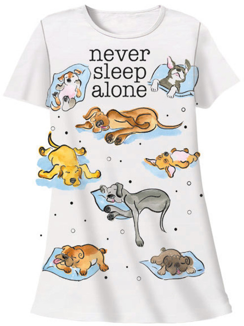 "Dog Theme Sleep Shirt Pajamas ""Never Sleep Alone"" - 539OT"