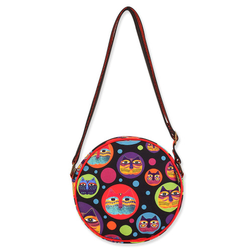 Laurel Burch Feline Faces Canvas Small Round Crossbody – LB8111