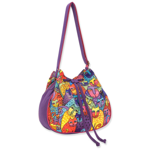Laurel Burch Feline Tribe Canvas Drawstring Crossbody Tote LB8121