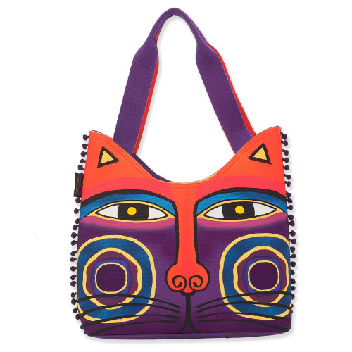 Laurel Burch Feline Tribe Canvas Magnificat Red Purple Scoop Tote LB8140B