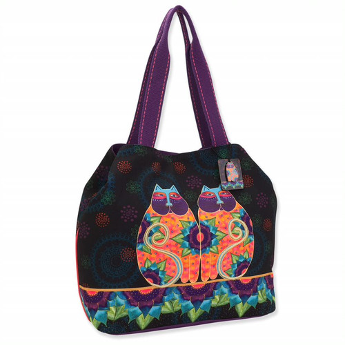 Laurel Burch Canvas Celestial Lotus Cats Gap Tote – LB8100