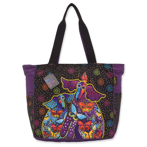 Laurel Burch Dogs and Papillons Canvas Shoulder Tote – LB8170