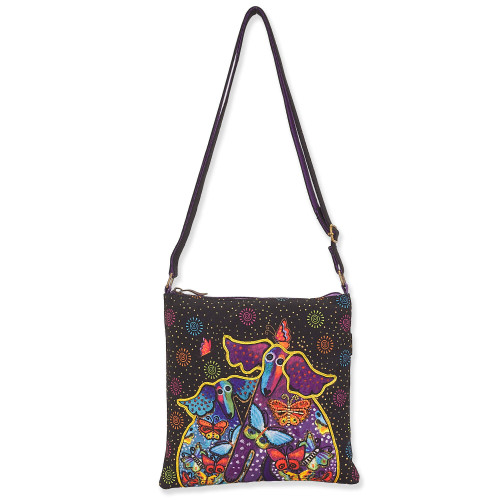 Laurel Burch Dogs and Papillons Canvas Small Crossbody Tote – LB8171