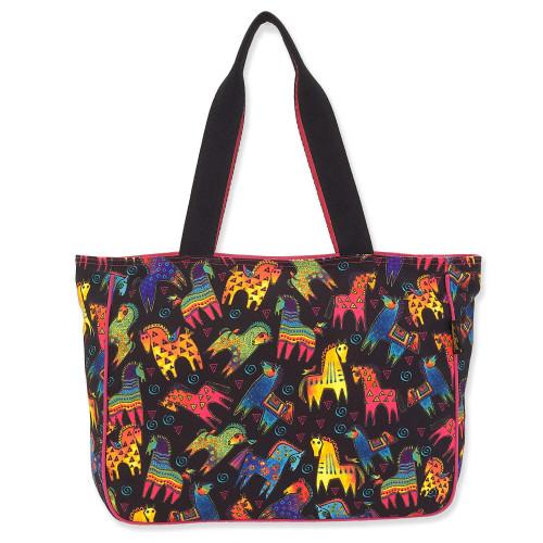 Laurel Burch Colorful Mares Canvas Shoulder Tote – LB8240