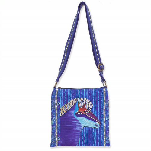 Laurel Burch Blue Batik Horse Canvas Small Crossbody Tote – LB8182