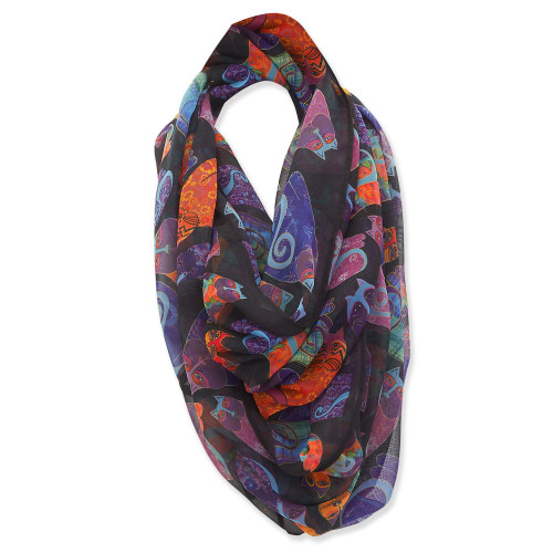 Laurel Burch Multi Color Cats Artistic Infinity Scarf - LBI229
