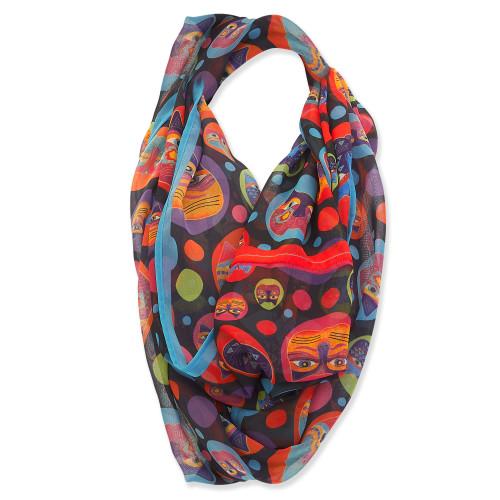 Laurel Burch Colorful Dottie Cats Artistic Infinity Scarf – LBI225