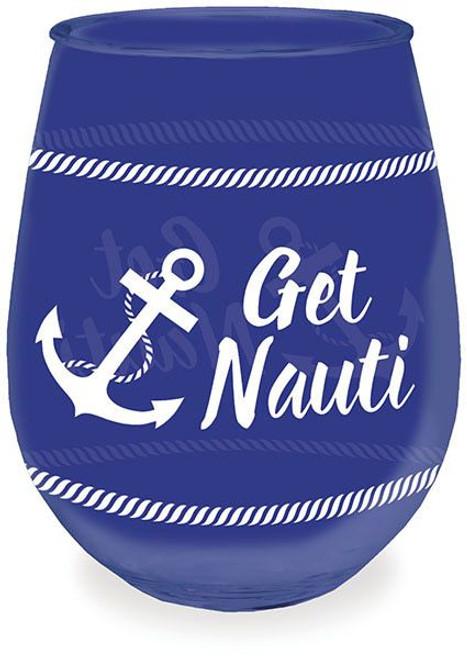 Nautical Nauti Navy Acrylic Stemless Wine Glass - 727-20