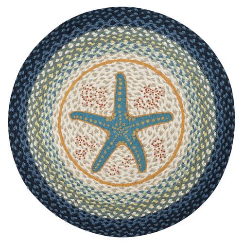 "Starfish Round Hand Printed Braided Floor Earth Rug 27"" - RP-362"
