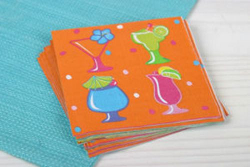 Tropical Drinks Paper Cocktail Napkins - 53419