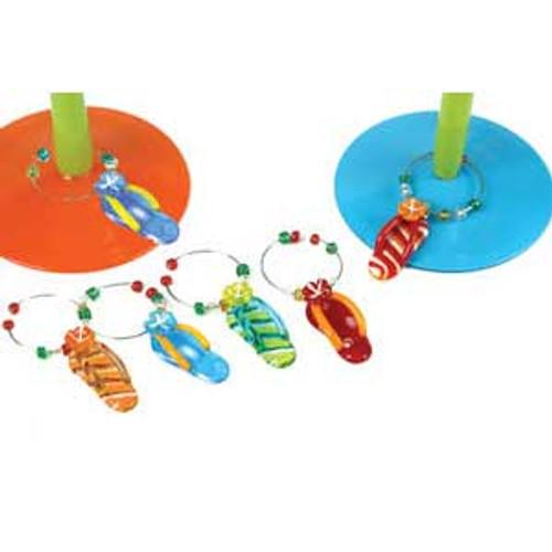 Tropical Flip Flop Art Glass Wine Markers Charms 6 per Set 53788