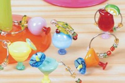 Tropical Drinks Art Glass Wine Glass Charms Set of 6 - 53789