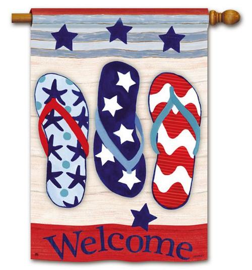 Welcome Flip Flops Patriotic House Flag 92698
