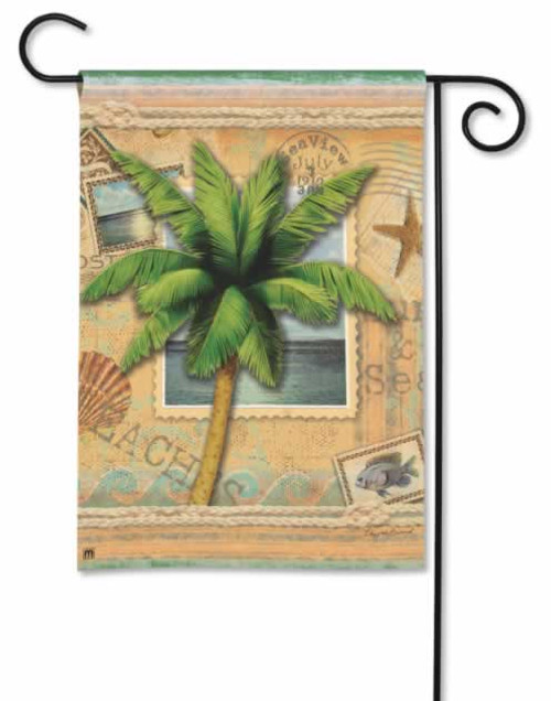 "Palm Tree  House Flag 20"" x 40"" ""Sun and Sea"" 93917"