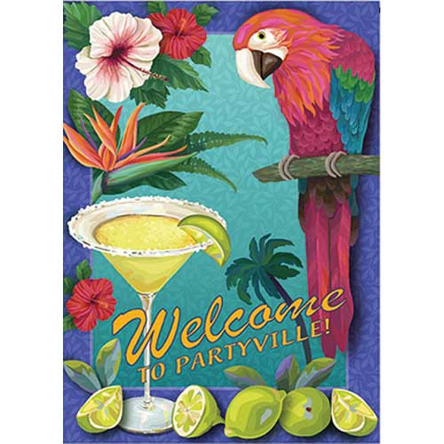 "Parrot Party Garden Flag ""Welcome to Partyville"" -113194"