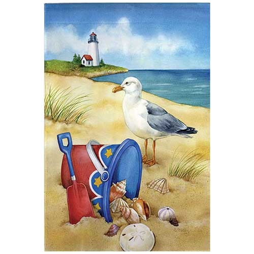 Beach Garden Flag Patriotic Gull Light House 141111