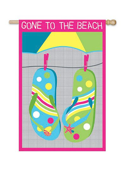 "Flip Flops Applique Garden Flag ""Gone to the Beach"" - 161294"
