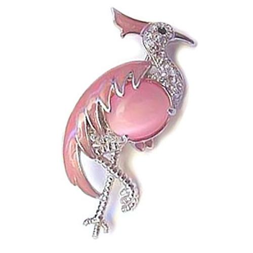 Pink Flamingo Pin with Moonstone Body & Rhinestones - Goldtone - 265137