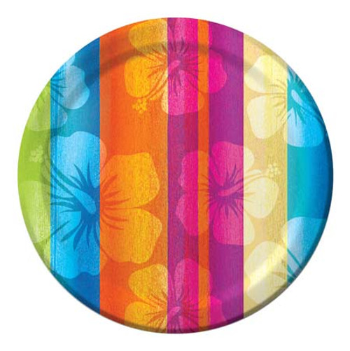 "Tropical Hibiscus Striped Paper Plates 7"" 410555"