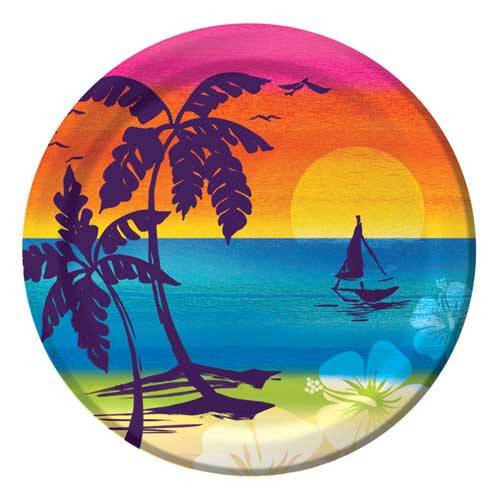 "Tropical Aloha Palms Paper Plates 7"" 412555"