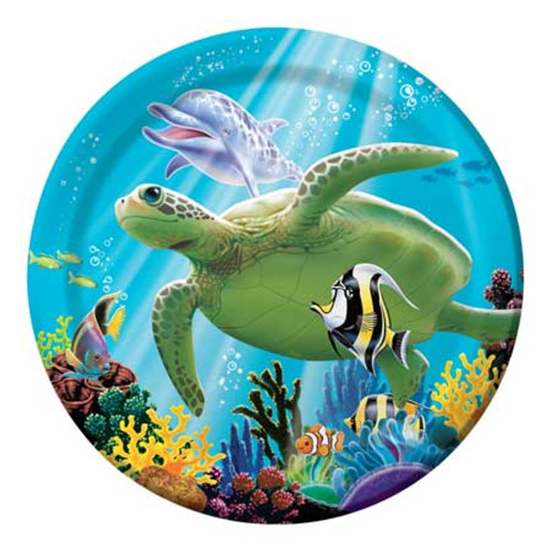 "Tropical Dolphin Turtle Paper Plates 7"" 415325"