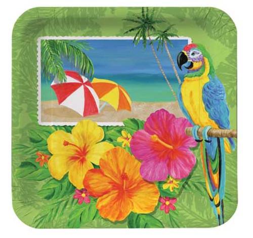 """Paradise Parrot Tropical Paper Plates 9"""" 422447"""