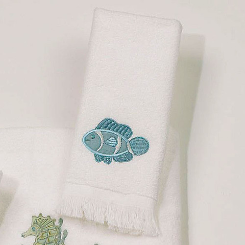 Tropical Reef Life White Fingertip Towel 1746100