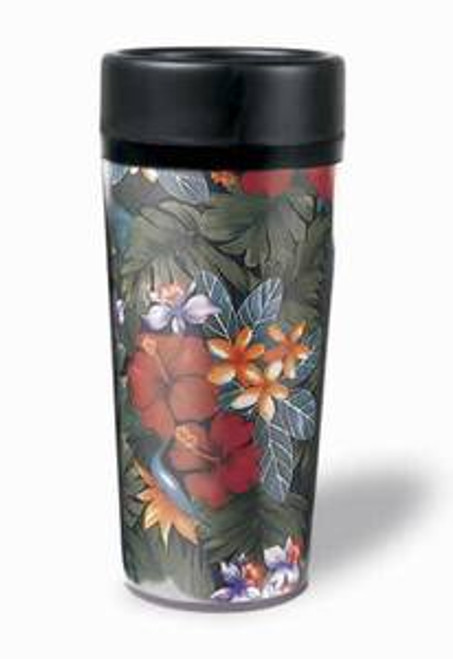 "Tropical Thermal Tumbler Travel Mug ""Lush Tropical"" - 02130000"